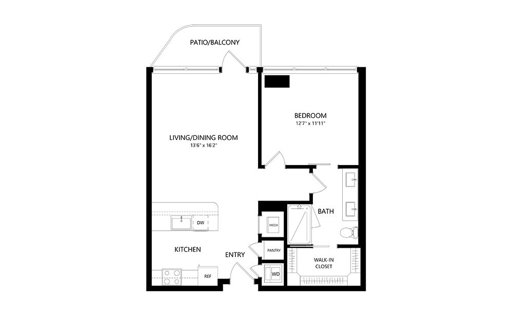 1 Bedroom A 1 Bedroom 1 Bath Floor Plan