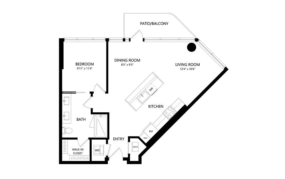 1 Bedroom B 1 Bedroom 1 Bath Floor Plan