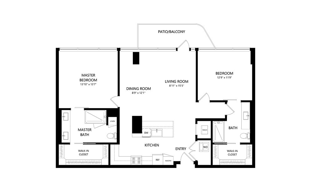 2 Bedroom B 2 Bedroom 2 Bath Floor Plan
