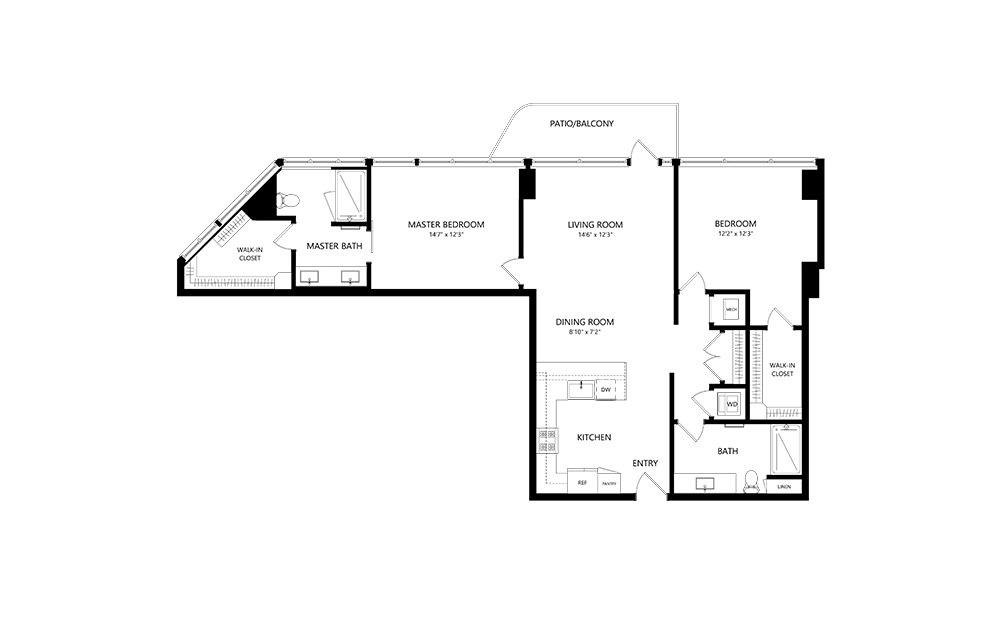 2 Bedroom D 2 Bedroom 2 Bath Floor Plan