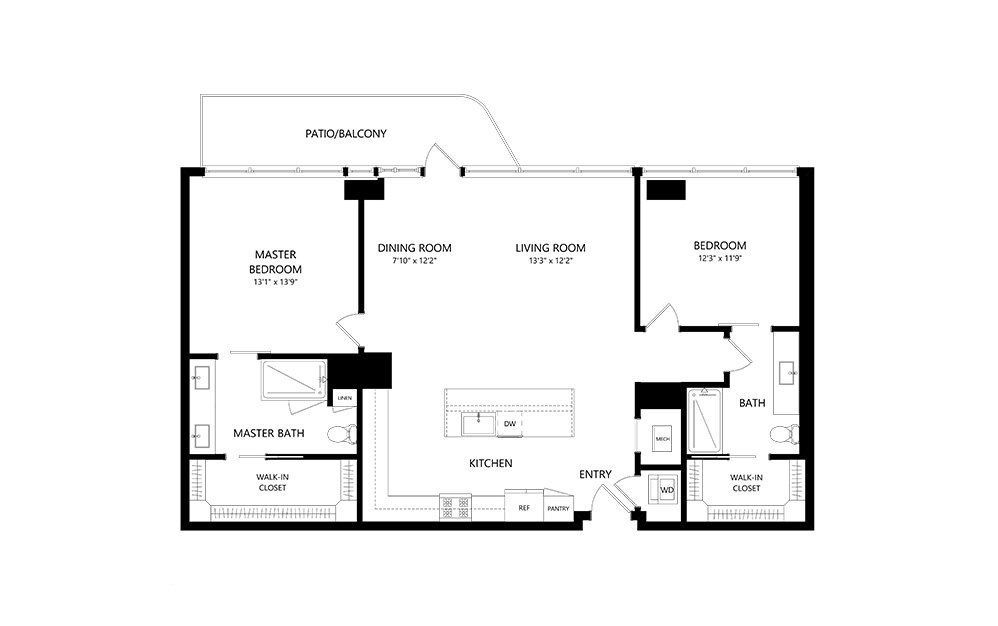 2 Bedroom E 2 Bedroom 2 Bath Floor Plan