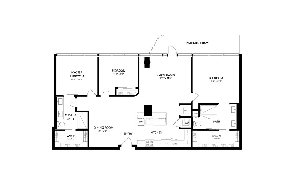 3 Bedroom A 3 Bedroom 2 Bath Floor Plan