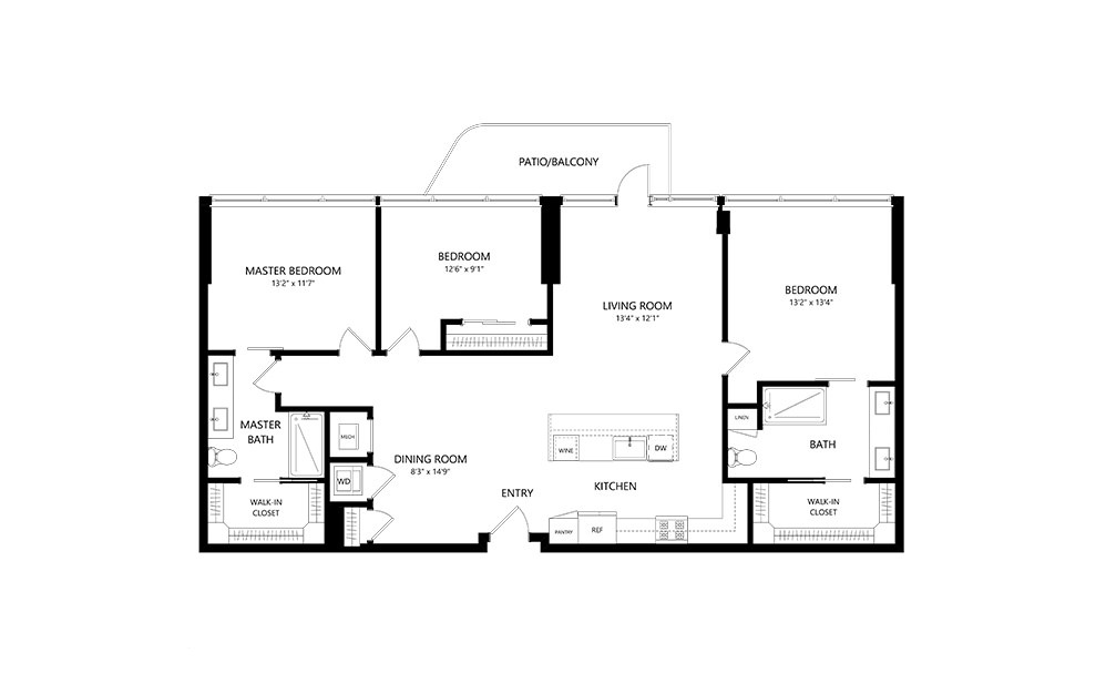 3 Bedroom B 3 Bedroom 2 Bath Floor Plan