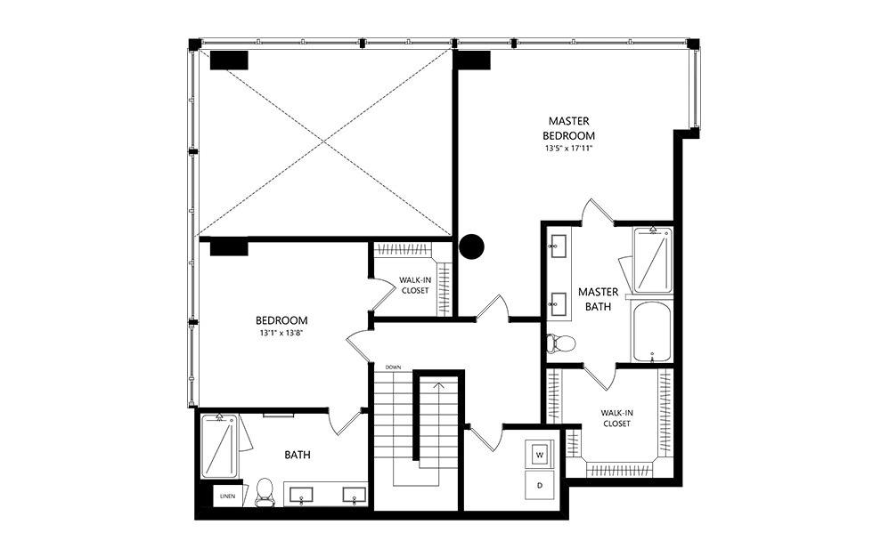 Penthouse 2 2 Bedroom 2.5 Bath Floor Plan